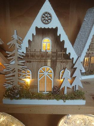 Wooden Lit House 18cm