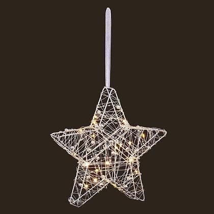 25cm Lit Wire Star