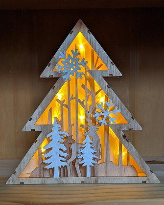 Christmas Wooden Lit Tree Shape