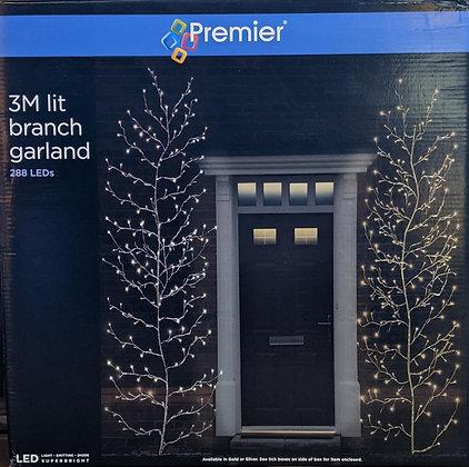 Gold Lit Branch Garland - Warm White