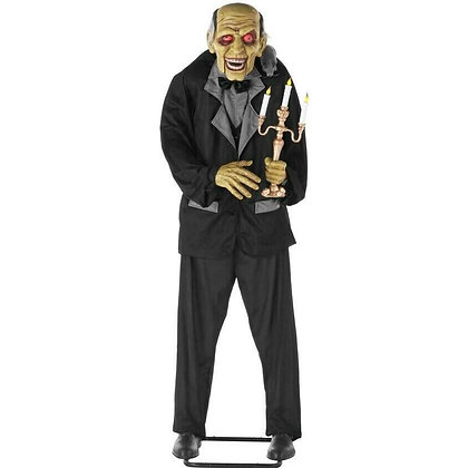 Animated 6ft Life-Size Butler With Candelabra