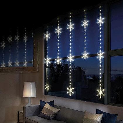 Twinkling Snowflake Curtain Light - Warm White