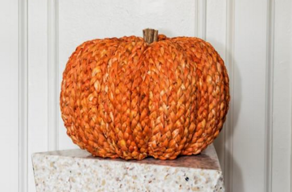 Large Handmade Orange Straw Pumpkin