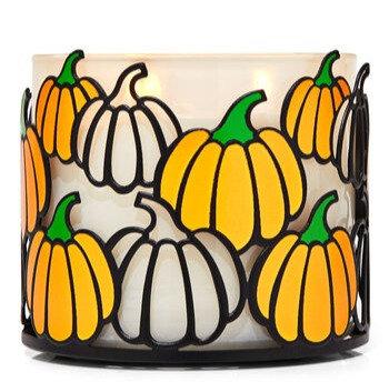 Orange & Black Pumpkins 3-wick Candle Holder