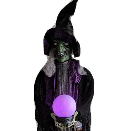Life Size Standing Witch With Crystal Ball