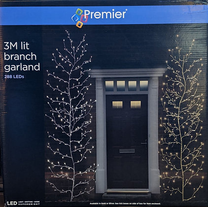 Sliver Lit Branch Garland - Cool White