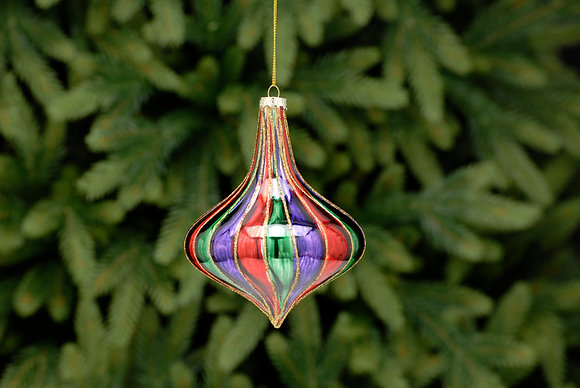 Red, Green And Purple Striped Glass Onion