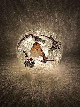 20cm Lit Crackle Effect Robin Ball