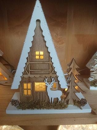 Christmas Wooden Lit House 22cm