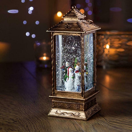 Oblong Lantern Water Spinner with Snowmen