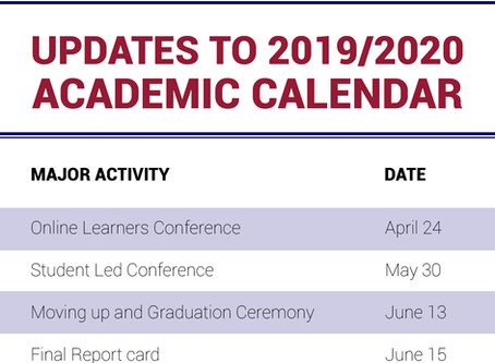 Updated 2019/2020 Academic Calendar