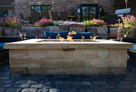 Outdoor Gas Fire Pit Installed by Professional Pittsburgh Landscaper