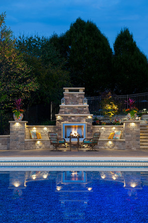 Landscape Lighting and Fire Place
