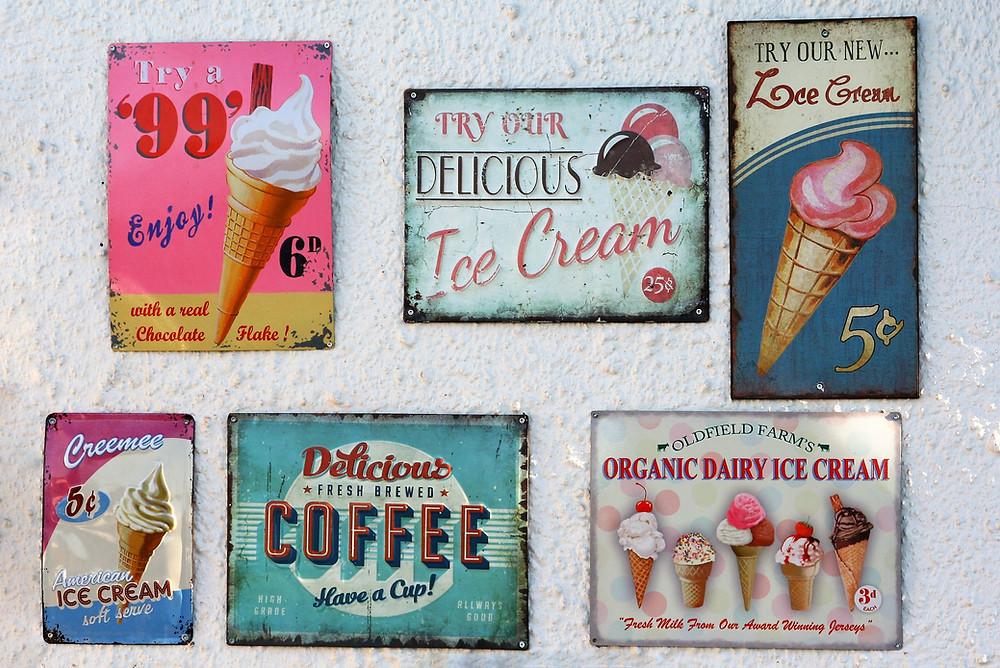 Ice Cream store signs