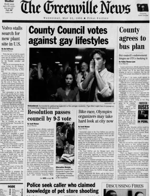 1996 archive story: County Council votes 9-3 against gay lifestyles
