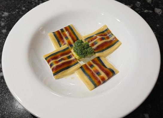 Square ravioli with rainbow