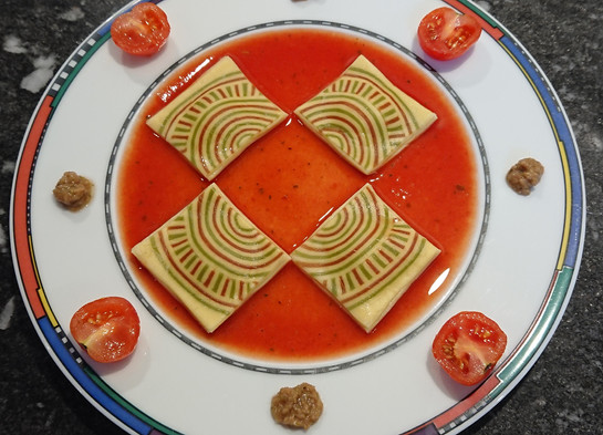 Ravioli with cicle elements