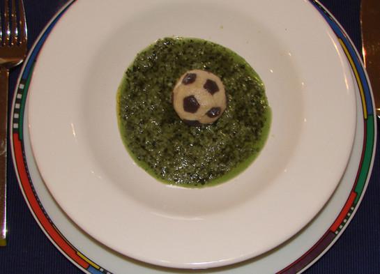 Soccer ball ravioli
