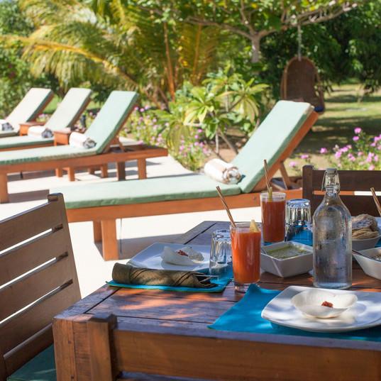 Sri Lankan breakfast by the pool