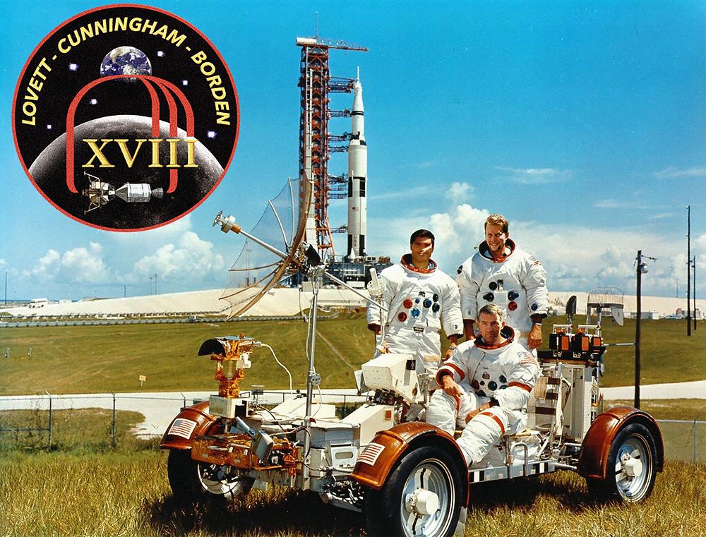Apollo 18 crew in Lunar Rover, Kennedy Space Center