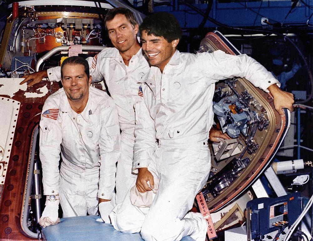 Apollo 18 crew training in CM, Johnson Space Center, Houston