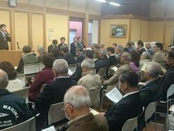 県政・市政の合同報告会を14日午後、開催しました。支部長である藤代優也県議、幹事長の井上貢市議、政調会長の中村一夫市議、副幹事長の古木邦明市議、政調副会長・広報局長の小田博士市議の計5人が、県政、市政