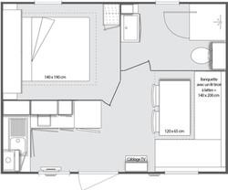 Plan du mobil home 1 chambre