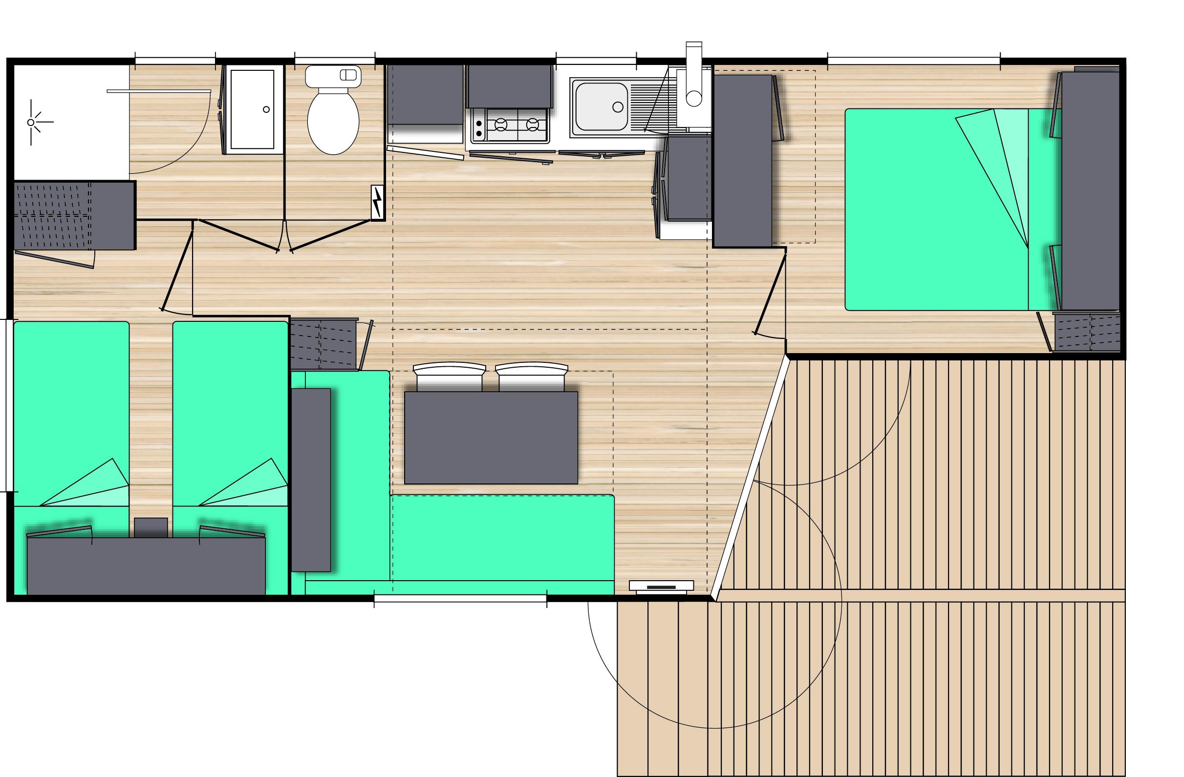 Plan du mobil home 2 chambres
