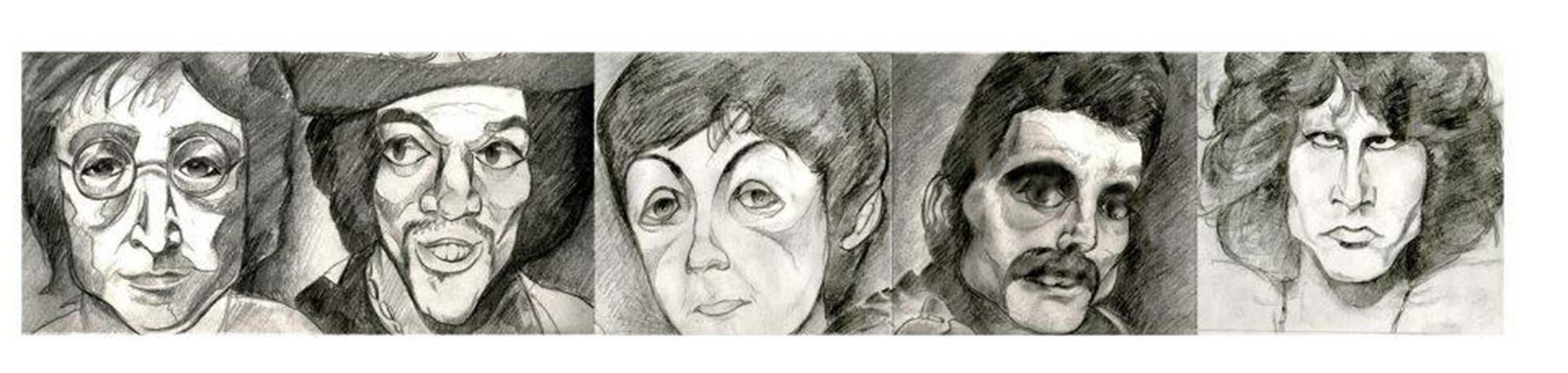Rock Artist Pencil Illustration