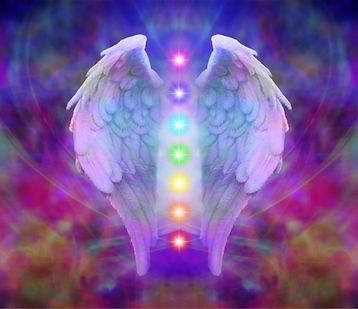 Angel wings and seven chakras on colorfu