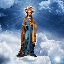 jesus christ  statue blue sky clouds bac