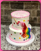 Tiered 2D unicorn cake