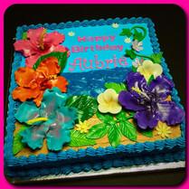 Tropical hibiscus sheet cake