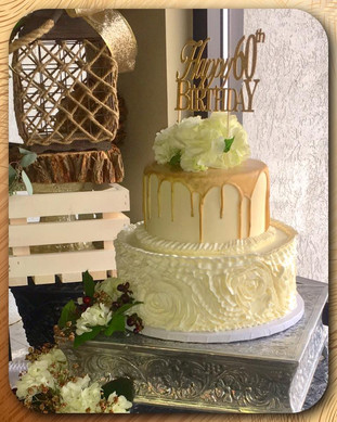 Gold drizzle ruffled tiered cake