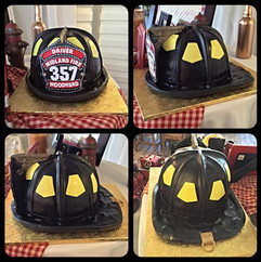 3D fireman helmet carved cake