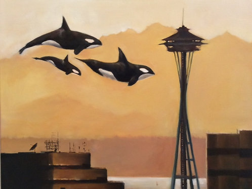 Orcas at the Space Needle