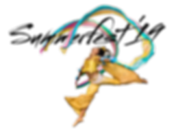 Taiwanese dancer in costume leaping with rainbow ribbons