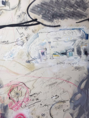"48"" x 52"" mixed media on canvas"