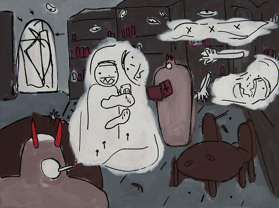 Smokey Library (Smoke Demons Reading, Smoking, and Telling Smoke Stories in the Library) 24 x 18 in, Vinyl and marker on canvas