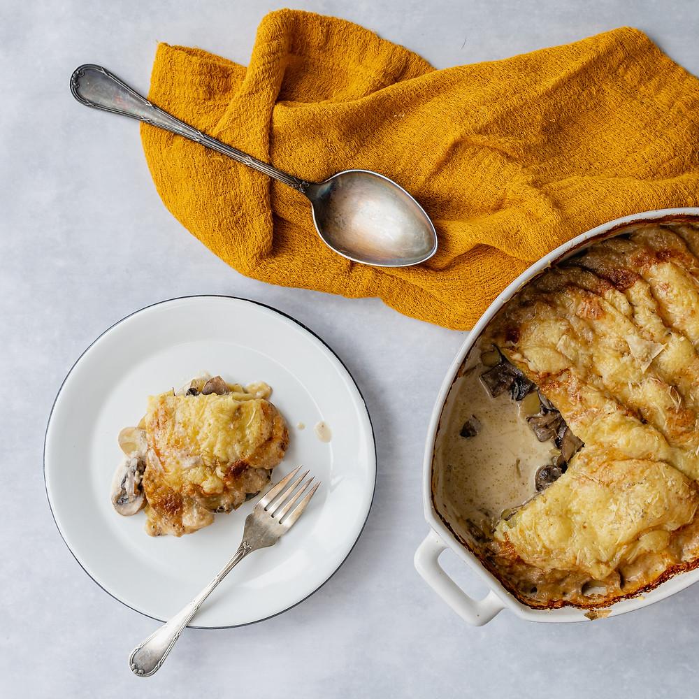 receita de batata gratinada com cogumelo e queijo gruyère