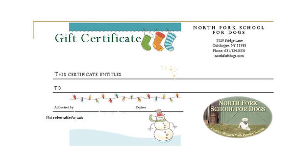 North Fork Scool for Dogs Gift Certificate