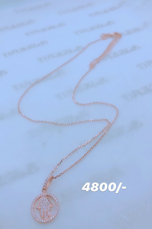Silver Hand Of Hamsa necklace with rosegold plating