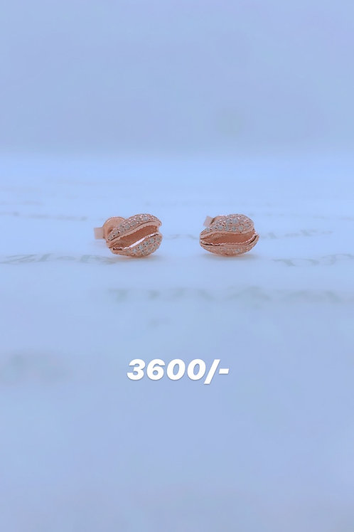 Shell silver earrings with rosegold plating