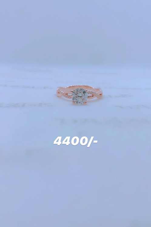 Rosegold plated silver entangled ring