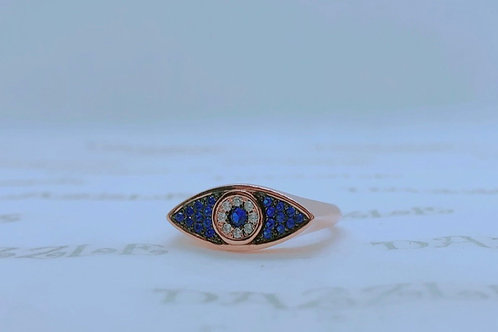 Rosegold plated silver evil eye ring