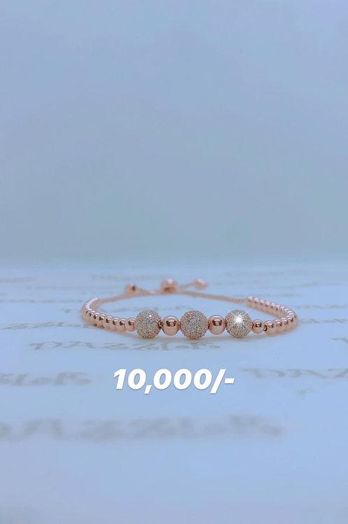Adjustable silver bracelet with rosegold plating