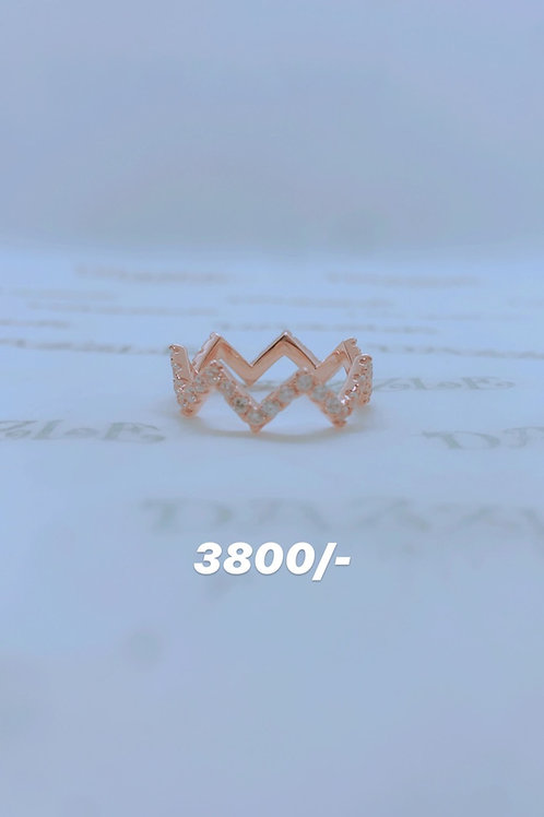Rosegold plated silver fancy ring