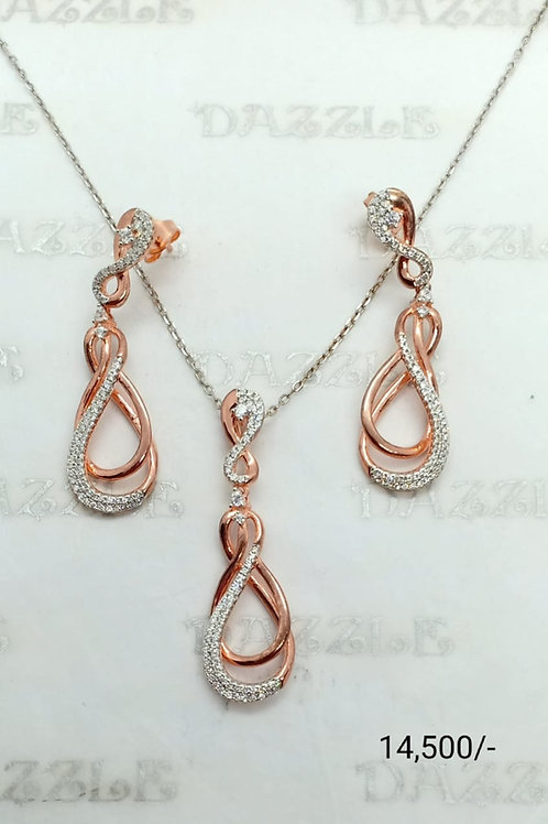 Silver pendant set with rose gold plating
