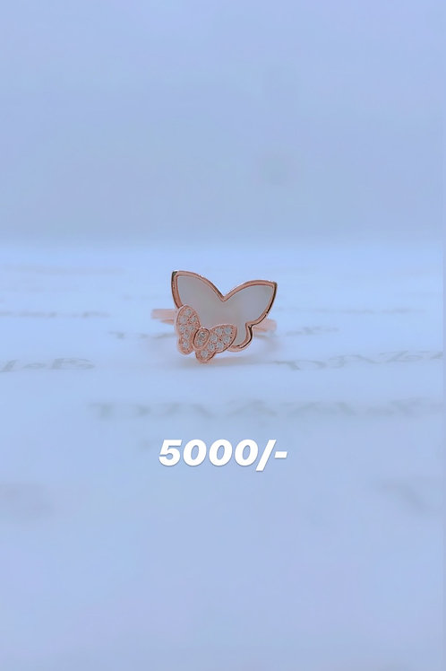 Rosegold plated silver butterfly ring