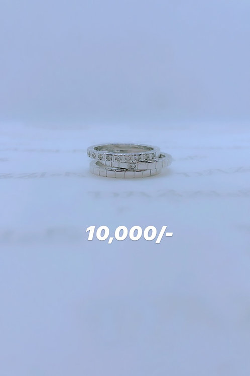 Silver 3-in-1 fancy/band ring
